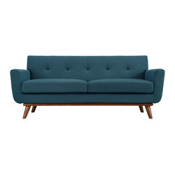 Modway - Modway EEI-1179 Engage Loveseat in Azure - Gently sloping curves and large dual cushions create a favorite lounging spot. Whether plopping down after a long day at work, settling in with coffee and brunch, or entering a spirited discussion with friends, the Engage loveseat is a welcome presence in your home. Five tufted buttons create eye catching appeal; adding depth that brings your sitting decor to center stage. Four cherry color rubber wood legs and frame supply a solid base to the comfortablt upholstered material.