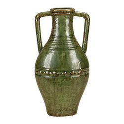 Casa Cortes - Casa Cortes Large 25-inch Hand-finished Double Handled Ceramic Vase - This beautiful 25-inch decorative ceramic vase by Casa Cortes is the perfect item to use to add a sophisticated touch to any room. The eye-catching emerald green ceramic and the double-handled design is sure to catch any guests attention.
