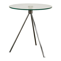 Wholesale Interiors - Baxton Studio Triplet Round Glass Top End Table with Tripod Base - This sleek modern end table makes it a point to provide a simple yet elegant place to rest beverages or add decorative accents to complete any living room set. The round tabletop is made of tempered glass and sits on a very sturdy tripod base made of steel with a brushed finish. Small black plastic non-marking feet are included.