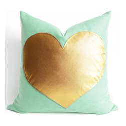 Gold Heart on Mint Green Linen Pillow Cover by Sukan - Mint green linen with a gold heart — that's a happy pairing, for sure. I'd love this heart pillow for my daughter's bed — or let's face it, my own!