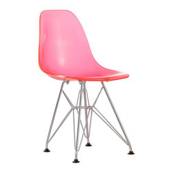 Zuo Modern - Baby Spire Kids Chair, Transparent Pink - Baby Spire Kids Chair  Based on Zuo's popular Spire, the Baby Spire chair fits in every child's room in need of modern, classic style. With a light-weight seat made from ABS and chrome steel base, the Baby Spire serves the function and design.