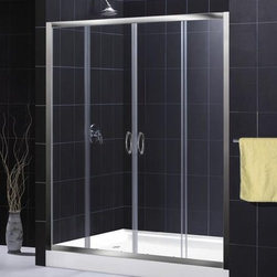"""DreamLine - DreamLine SHDR-1160726-01 Chrome Visions Visions Sliding Shower Door - Sliding Shower Door from the Visions Series The DreamLine™ VISIONS shower door offers a simple, yet elegant door design for any bathroom. With center opening sliding doors, anodized aluminum framing in a choice of chrome or brushed nickel finish and options of clear or frosted glass – VISIONS doors offer a great solution for any bathroom remodeling project. The width may be further adjusted to 56"""" if required to fit a more narrow shower or tub opening. The smart design of the two sliding doors includes full length magnetic strips and fast wheel release for easy glass and aluminum bottom track cleaning. Product Specifications:  Two sliding doors Tempered 1/4"""" clear or frosted glass Anodized aluminum profiles and frames Adjustable between 56""""-60"""""""