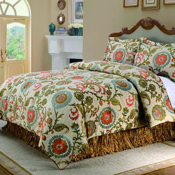 None - Broome 4-piece Comforter Set - Add style and color to your bedroom with the modern Broome 4-piece comforter set. The comforter and shams feature a grand scale jacquard woven vine motif in tones of orange,aqua,gold and greens on a clear ivory ground.