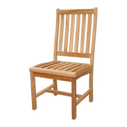 Anderson Teak - Wilshire Slat Back Dining Chair - Unfinished - Strength in style is evident with this sturdy fine wood chair.  Easy maneuverability facilitates placing this beneath the shade, poolside or conveniently on the patio.  Review our site for benches, tables and other items to complement your outdoor lifestyle.  Indulge the ecstasies of white chocolate mouse and vanilla sponge cake in your Traditional Solid Teak Dining Chair, a rich home accessory exemplary of stellar artisan work, gorgeous design and a firm grasp that even the most unassuming pleasures should be defined by dateless luxury and style. * Slat back and seat design. Teak wood construction. Traditional style. Minimal assembly required. 19 in. W x 19 in. D x 39.5 in. H (21 lbs.)This simple traditional style dining chair will never go out of style, but quietly blends with any other design. Place this chair in your backyard with the dining table, will amazed your family or friends.