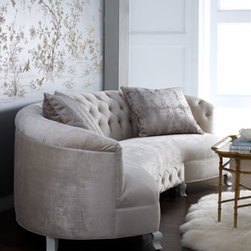 """Haute House - Haute House """"Monroe"""" Sofa - Curved velvet sofa has a tufted back and front accent. Available only with self-covered buttons. Includes two accent pillows as shown. Handcrafted of rayon velvet over an alder wood and composite wood frame. Sofa measures 114""""W x 29""""D x 31""""T. Made in th..."""