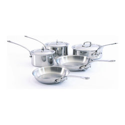 Mauviel - Mauviel M'cook Stainless Steel Cookware Set, 8 pc., Cast Stainless Steel Handles - 5 ply Construction - High performance cookware, works on all cooking surfaces, including induction.