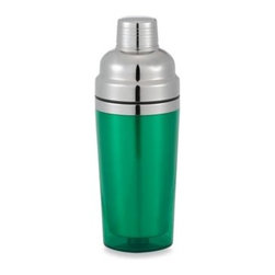 Prodyne - Prodyne Stainless Steel Double Wall Cocktail Shaker in Green - This stunning cocktail shaker combines classic traditional styling with modern good looks and features. The beautiful double wall design has a high quality brushed stainless steel interior with a color acrylic plastic exterior.