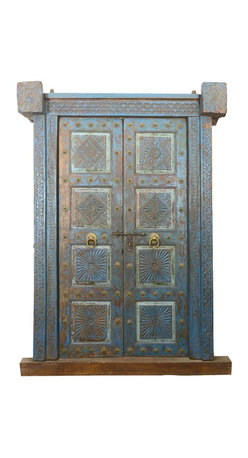 Sierra Living Concepts - Blue Diamond Hand Carved Teak Door - Let everyone know that your home is your castle with the Blue Diamond Hand Carved Teak Double Doors. These hand carved solid hardwood doors are enhanced with brass ornamentation. The entrance way includes framing, base, and top corner pieces.