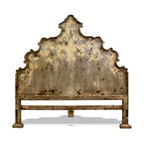 French Country Bedroom Ideas - An Old World Tuscan King Bed Headboard that is beautifully hand crafted with an ornate hand painted floral scroll design. The distressed paint and bone scrolls give the bed an Old World French and timeless feminine feel, which is sure to bring emphasis to the focal point in your master bedroom.