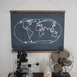 Chalkboard World Map - This chalkboard world map is beautiful, and it also allows your child to interact with it by marking their favorite spots or places they'd like to visit one day. Isn't the little chalk holder at the bottom just genius?