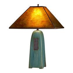 "Studio 233 - Stoneware Table Lamp, Viridian, 22"" - Four-sided hand-built stoneware table lamp with mica shade."