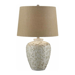 Crestview - Sand Coral Table Lamp - Create a captivating sea washed style with this 25.5 inch tall ceramic beach house table lamp decorated with a raised coral branch pattern on the base.  A natural burlap fabric shade completes the look.