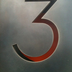 Modern House Number - Modern house number, lit from below