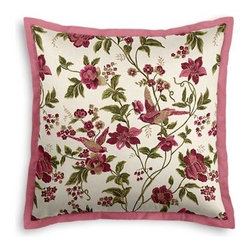 """Pink Floral Bird Custom Euro Sham - Popped collars, statement necklaces, crisply ironed pants """""""""""" it's the little details that complete a perfectly tailored look. And the sharp contemporary edging of the Tailored Euro Sham will do just that for your bed.  We love it in this stunning hand blockprinted chinoiserie-esque floral and bird motif in magenta, rose and green with shimmery hints of gold."""