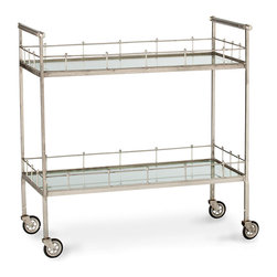 Lisbon Bar Cart - Framed in a low fence of bead-topped metal rods, the Lisbon Bar Cart has an indefinable air of the antique, but its look is at home with any era or style � a versatility helped along by the cool and classic patina silver finish.  Oversized caster wheels and double mirror shelves piquantly mix classic glamor with a visual elevation of functional practicality in the home.