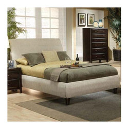 Wildon Home � - Applewood Contemporary Upholstered Bed - Choose this collection for a warm and relaxing look in your home. Smooth and sleek the Wildon Home upholstered low profile bed gives a sense of contemporary design with its beige fabric wrapped frame. Warm Cappuccino finished legs finish the overall effect, beckoning you into relaxation while solid hardwood construction supply years of durable use so your bedroom looks amazing for ages to come. Features: -Contemporary style.-Chamfered trim, clean lines, tapered feet.-Smooth veneered tops with straight edges.-Anchored by dark wooden feet.-Box spring required, but not included.-Upholstered Frame: Yes.-Upholstery Material: Fabric.-Distressed: No.-Includes three metal slats.-Constructed from wood veneers and solids.-Warm brown and deep cappuccino finishes.-Distressed: No.-Collection: Applewood.Dimensions: -Overall Dimensions: 53.5'' H x 66'' W x 83.5'' D.-Assembled Weight: 132 lbs.-Overall Product Weight: 132 lbs.