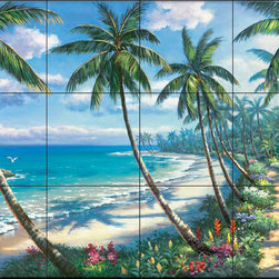The Tile Mural Store (USA) - Tile Mural - Sk - Pathway To Paradise - Kitchen Backsplash Ideas - This beautiful artwork by Sung Kim has been digitally reproduced for tiles and depicts a colorful path next to the ocean  Beach scene tile murals are great as part of your kitchen backsplash tile project or your tub and shower surround bathroom tile project. Waterview images on tiles such as tiles with beach scenes and sunset scenes on tiles.  Tropical tile scenes add a unique element to your tiling project and are a great kitchen backsplash  or bathroom idea. Use one or two of our beach scene tile murals for a wall tile project in any room in your home for your wall tile project.