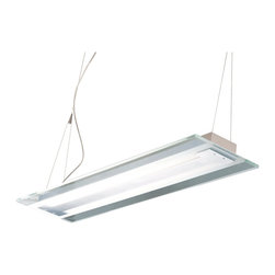 ET2 - ET2 Contempra Pendant Light X-LA42-32122E - This trestle Contempra collection features thick Clear/White glass plates with polished edges accented by Brushed Aluminum finish. The fluorescent light source assures energy saving operation and the cable-suspension system of the pendants add to the contemporary flare. Perfect for the kitchen island or the well-designed workspace.