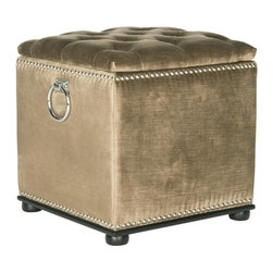 Safavieh - Flora Ottoman - Get organized in style with the button-tufted Flora storage ottoman. Upholstered in golden olive velvet this piece opens to reveal hidden storage. Finishing touches include a base and bun feet of black birch, silver nailheads and decorative rings.