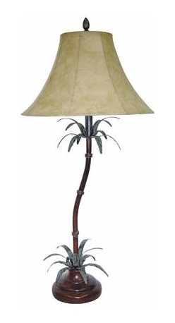 Papila Design - Tropical Dark Tea Table Lamp with Faux Leather Shade - -Material: Metal and Resin  -Made in the USA  -Shade Shape: Round Bell  -Shade Material: Faux-Leather, Softback Papila Design - 9266