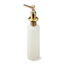"""Renovators Supply - Brass Plastic Liquid Soap Dispenser - Easy fill soap dispenser holds up to 12 fluid ounces. This bottle has a total height of 10"""", 1 1/4"""" threads for mounting. The bottle alone is 6 1/4"""" tall."""