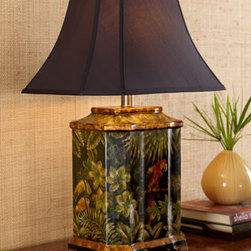 Parrot Lamp - Love the casual, romantic feel of the tropics?  This Parrot Square-Base Lamp will take you there each time you turn it on.  Pina Colada not included.