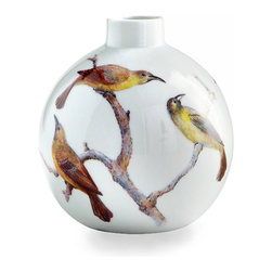 Aviary Vase - Small - Sized perfectly for a single garden bloom or a small spray of grasses, the Small Aviary Vase accents real natural elements above � if any � with the illusion of life painted on its walls.  Depicted beautifully on the white porcelain are expressive birds, their details wonderfully captured by the artist for a muted show of color and a breathtaking silhouette.