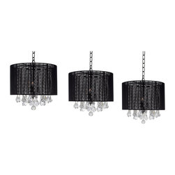 """Set of 3 Crystal Chandelier with Large Black Shade H15"""" x W15' - These beautiful fixtures are trimmed with Empress Crystal(TM)Item must be hardwired. Professional installation is recommended. Each item requires (3) 40 watt bulbs - not included"""