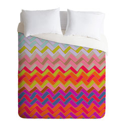 DENY Designs - Sharon Turner Geo Chevron Duvet Cover - Turn your basic, boring down comforter into the super stylish focal point of your bedroom. Our Luxe Duvet is made from a heavy-weight luxurious woven polyester with a 50% cotton/50% polyester cream bottom. It also includes a hidden zipper with interior corner ties to secure your comforter. it's comfy, fade-resistant, and custom printed for each and every customer.