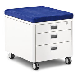 Moll - Champion Kids Pad for Rolling Cube, Navy Blue - Top the Champion Kids Three Drawer Rolling Cube Container with this cushiony pad and turn the storage unit into a chair.