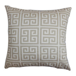 """The Pillow Collection - Paros Greek Key Pillow Gray White 20"""" x 20"""" - Reinvent your interiors by decorating this striking accent pillow. Made of 100% soft cotton fabric, this sleek square pillow provides texture and comfort to your living room, bedroom or lounge area. The classic Greek Key pattern comes in soft shades of grey and white. Pair this decor pillow with a matching pattern or solids for a contemporary style. Hidden zipper closure for easy cover removal.  Knife edge finish on all four sides.  Reversible pillow with the same fabric on the back side.  Spot cleaning suggested."""