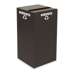 Witt Industries Geo Cubes 28 Gallon Slate Recycling Bin - It's simple to start a recycling program at work with the Witt Industries Geo Cubes 28 Gallon Slate Recycling Bin. Designed to be compact this bin will fit almost anywhere. Made from fire safe steel for durability the bin is available with lid options to accommodate whatever material you're looking to recycle. Decals are included with each lid to clearly mark its use. This recycling bin holds up to 28 gallons of recyclables and measures 15L x 15W x 28H.About Witt IndustriesWith its rich and established history in the steel waste receptacle manufacturing industry that dates back to 1887 Witt Industries has been in the forefront with its innovation quality and service. The company's founder George Witt invented and patented the first corrugated galvanized ash can and lid back in 1889 and the company has never looked back. Today Witt Industries is part of the Armor Metal Group and is a woman-owned business.