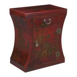 None - Red Bonded Leather Hand-painted Oriental Accent End Table - Shapely side table will energize any room with its beau monde attitudeAccent table inspired by antique Chinese furnishingsTable crafted by master carpenters in China's southern Guangdong province