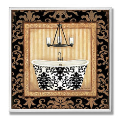 Stupell Industries - Black Veranda Bathtub Wall Plaque - Made in USA. Ready for Hanging. Hand Finished and Original Artwork. No Assembly Required. 12 in L x .5 in W x 12 in H (2 lbs.)Point your guests in the right direction with elegant bathroom plaques from The Stupell Home decor CollectionEach plaque comes with a sawtooth hanger for easy installation on bathroom doors or walls.