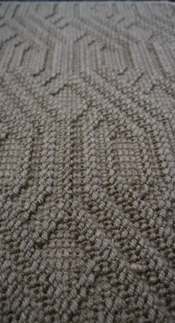 Natural Fiber Rugs & Carpets - This sisal and wool blend Cable Knit  pattern is offered for wall to wall installation, as area rugs of any size up to 13'wide and runners.  Choose from a variety of edge bindings including serging, wide cotton, linen, leather, tapestry fabric, Sunbrella and more.  Purchase at Hemphill's Rugs & Carpets Orange County, CA