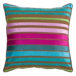 "Surya - Surya JS-019 Sparkling Stripe Pillow, 22"" x 22"", Down Feather Filler - If bold and bright are two words you're looking to define your space, this is the pillow for you. Featuring bold, beautiful stripes colored by bright purple, blue, and green, you will turn heads in any room with this striking piece. This pillow contains a zipper closure and provides a reliable and affordable solution to updating your home's decor. Genuinely faultless in aspects of construction and style, this piece embodies impeccable artistry while maintaining principles of affordability and durable design, making it the ideal accent for your decor."