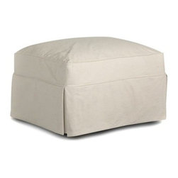 Klaussner Jenny Ottoman - Bull Natural - The Klaussner Jenny Ottoman - Bull Naturalis designed to fit right alongside with the rest of the Klaussner Jenny - Bull Natural collection, but this plush, understated footstool could easily find a home with anyone who appreciates clean, simple design. Dense foam is used to create a plush top-cushion that rests on a wooden frame. The exterior is covered with a neutral-toned fabric that creates a simple skirt that makes this ottoman seem to hover off the ground.About KlaussnerWith 16 U.S. manufacturing and distribution facilities and over 3,000 employees, Klaussner is well known for its quality, value priced home furnishings, produced by highly skilled employees and distributed by furniture retailers throughout the world. Asheboro, N.C., is home for several of Klaussner's manufacturing and distribution facilities as well as the company's corporate headquarters and a 100,000 square foot showroom. In recent years Klaussner has also begun to utilize worldwide sources to import leather upholstery, bedroom, dining room, occasional, entertainment, accents and most recently a full line of accessories. This has allowed Klaussner to become a full product and service provider for the whole home.