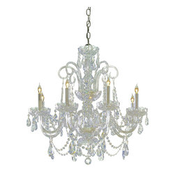 Crystorama - Crystorama Traditional Crystal 1 Tier Chandelier in Polished Brass - Shown in picture: Swarovski Spectra Crystal Chandelier; Traditional crystal chandeliers are classic - timeless - and elegant. Crystorama's opulent glass arm chandeliers are nothing short of spectacular. This collection is offered in a variety of crystal grades to fit any budget. For a touch of class - order this collection in Gold for traditionalists or in Chrome to match your contemporary or transitional decor.