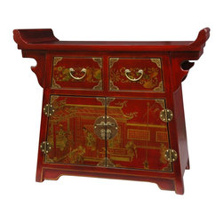 Oriental Furniture - Red Lacquer Village Life Altar Cabinet - This lucky red lacquer altar chest was constructed by master craftsmen using sturdy Ming cabinetry and joinery. The unique flat top has large upturned edges above a tapered chest body. Its drawers and doors have been decorated with hand-painted oriental art surrounded by brass butterfly corners, round medallion hinges, and a hasp with leaf pulls and lock pin.