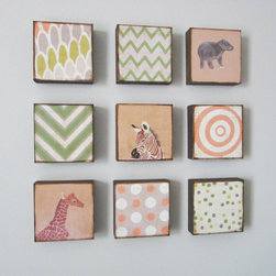 """Nursery Art Block Set, Animals/Geometric by Red Tile Studio - This set of nine handmade art """"blocks"""" are printed on wood and then varnished. Hung together in a grid, they would make a stunning (and instant) art wall."""