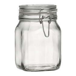 Fido 1-Liter Jar with Clamp Lid - Italian storage jars are stylish with large openings for easy access. Lids clamp down on foods with vulcanized rubber gaskets for an airtight seal.