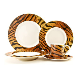 Red Vanilla - Red Vanilla 'Safari' 5-piece Place Setting Dinnerware Set - The Safari 5-piece place setting features a fashion-forward, Safari Tiger Print pattern design. Each piece in this elegant set is crafted from porcelain and has the feel of animal skin.