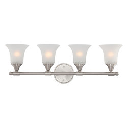 Nuvo Lighting - Surrey Four Light Bathroom Fixture With Frosted Glass In Brushed Nickel Finish - Surrey - 4 Light Vanity Fixture w/ Frosted Glass