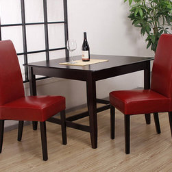 None - Leather Dining Chairs Burnt Red (Set of 2) - Put some pizzazz back into dinnertime with these red leather dining chairs. These thick-foam chairs are covered with high-quality leather and constructed on a solid wood frame. The deep red leather is protected with a PU coating for long-lasting color.
