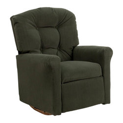 """Flash Furniture - Kids Olive Microfiber Rocker Recliner - Kids will now be able to enjoy the comfort that adults experience with a comfortable recliner that was made just for them! This chair features a strong wood frame with soft foam and then enveloped in durable microfiber upholstery for your active child. Choose from an array of colors that will best suit your child's personality or bedroom. This petite sized recliner features a rocker frame for kids to enjoy and feel like a big kid. The rocking feature becomes disabled once the chair is reclined for safety. Child's Recliner; Olive Microfiber Upholstery; Easy to Clean Upholstery; Plush Button Tufted Back; Spring Seat; Fire Retardant Foam; UFAC Tested and Approved; Solid Hardwood Frame; Hardwood Rocker Frame; Intended use for Children Ages 2-9; 90 lb. Weight Limit; Safety Feature: Will not rock while reclined due to welded T-Bar; Overall dimensions: 22.5""""W x 24"""" - 37""""D x 28""""H"""