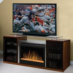 "Dimplex Marana Cherry Entertainment Center Electric Fireplace - The Dimplex Marana Cherry Entertainment Center Electric Fireplace features a stunning design with crisp, clean lines and contrasting surfaces to give any setting a modern update. This fireplace console combines the timeless pleasure of a warm hearth with all the dedicated storage you need for your home theater. With a balanced wood and metal construction with cherry and satin nickel finishes, this media center will coordinate effortlessly with your fine furniture. Choose between a glass ember bed or traditional ceramic wood-like logs to suit your preference.This electric fireplace console comes with an easy-to-operate, multi-function remote control with a digital display that shows room temperature and thermostat settings, flame speed, and brightness controls.You'll save money on heating, and you'll save floor space with this unique combination unit. It costs only pennies an hour to run and burns clean and green with no carbon monoxide or emissions. Two smoke glass doors are perfect for tucking away DVDs, CDs, and video games, as well as a place for your electronic components. Place your flat-screen or standard CRT TV on elevated top shelf and enjoy your favorite shows, sports, and movies at optimal viewing height.Your media and electronics are safe next to the heating unit, which uses a fan to evenly distribute heat. Even the glass fireplace cover remains cool to the touch during flame operation. You determine your own comfort level with the adjustable heat output and flame-only operation during warmer weather. You can even switch the unit off and on with a remote control, so you don't have to get off the couch.For a clean, professional appearance, the plug kit can be removed for hard-wire installation. This fireplace features the most attractive, realistic flame technology on the market so you can enjoy a fire whenever you're ready to unwind.Clean and greenReduces greenhouse gas emissions, conserves energy through zone heating, and maintains a safe, healthy indoor environment.Instant ambianceWith realistic, leading-edge flame technology, this product provides instant ambiance and the romance of a real fire.Instant heatProvides supplemental heat for up to 400 square feet.Fine tuningInterior light and flame speed control.Optional heatYear-round comfort at the push of a button.Safe electric operationNo combustion means no carbon monoxide emissions, and glass stays cool to the touch.Just plug it inRequires no venting- simply plug into any standard household electrical (120V) outlet, switch on, and enjoy.No moisture problemsSafe electric operation does not contribute to the concerns that come with some unvented gas products. Does not contribute to indoor moisture, mold, or ventilation problems.About DimplexDimplex North America Limited is the world leader in electric heating, offering a wide range of residential, commercial, and industrial products. The company's commitment to innovation has fostered outstanding product development and design excellence. Recent innovations include the patented electric flame technology - the company made history in the fireplace industry when it developed and produced the first electric fireplace with a truly realistic ""wood burning"" flame effect in 1995. The company has since been granted 87 patents covering various areas of electric flame technology, and 37 more are pending."