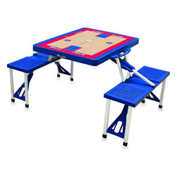 "Picnic Time - Detroit Pistons Picnic Table Sport in Blue - Picnic Time's portable Picnic Table is a compact fold-out table with bench seats for four that you can take anywhere. The legs and seats fold into the table when collapsed so the item is easy to store and transport. It has a maximum weight capacity of 250 lbs. per seat and 20 lbs. for the table. The seats are molded polypropylene with a basket weave pattern in the same color as the ABS plastic table top. The frame is aluminum alloy for durability. The Picnic Table is ideal for outdoor or indoor use, whenever you need an extra table and seats. It includes a hole in the center of the table to accommodate a standard sized beach umbrella (having a pole that is 1.25"" diameter or less). Pair it up with Picnic Time's multi-colored stripe Umbrella (812-00-996) or solid colored Umbrella 5.5 (822-00) in red, green, blue or black, sold separately.; Decoration: Digital Print"