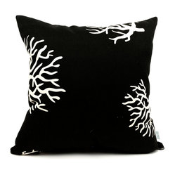 Outdoor Black Coral Large Pillow