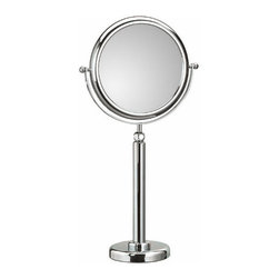 WS Bath Collections - Doppiolo 45-2 Magnifying Mirror 3x - 6x - Doppiolo 45-2 by WS Bath Collections 9.1 Dia. x 22.1/28.4 Free Standing Magnifying Mirror, Telescopic, in Chromed Plated Brass Structure and Frame in Chromed Plated Abs