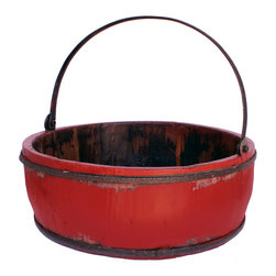 Antique Revival - Red Vintage Clovis Bucket - This vintage wooden basin features an iron handle and works great for displaying on its own, or for storing small items. It could also look great with an arrangement of flowers spilling out. The lightly distressed, bright red paint adds a splash of color to any room, while the iron handle and banding bring in a rustic vibe.